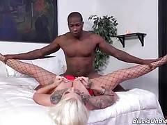 Hot slut loves to feel big black cock moving inside her cunt.