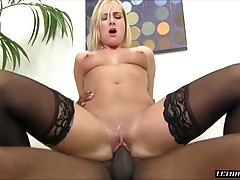 She sucks her sweet juices from his cock while he eats her pussy again. He finishes up fucking her with their bodies pressed together and then he blows his load on her face while she smiles