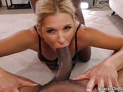 Not blacks on brunettes! So here she is, a blonde, and, as always, ready to tackle the biggest, blackest Bulls. India Summer is a Size Queen, so she`s going to take two of our biggest Bulls and work their nuts until they explode all over her beautiful, bl