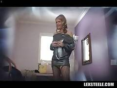 Pretty mature blonde is getting herself ready for hot sex scene.