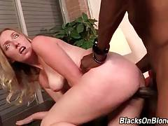 Breasted Tegan Riley gets thoroughly pounded by black stud.